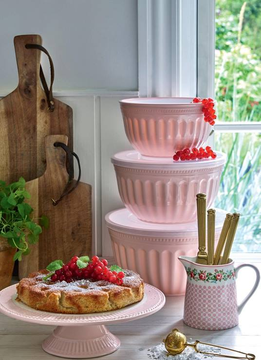 GREENGATE - SET CONTENITORI 3 PZ -  BOWL WITH LID ALICE PALE ROSA